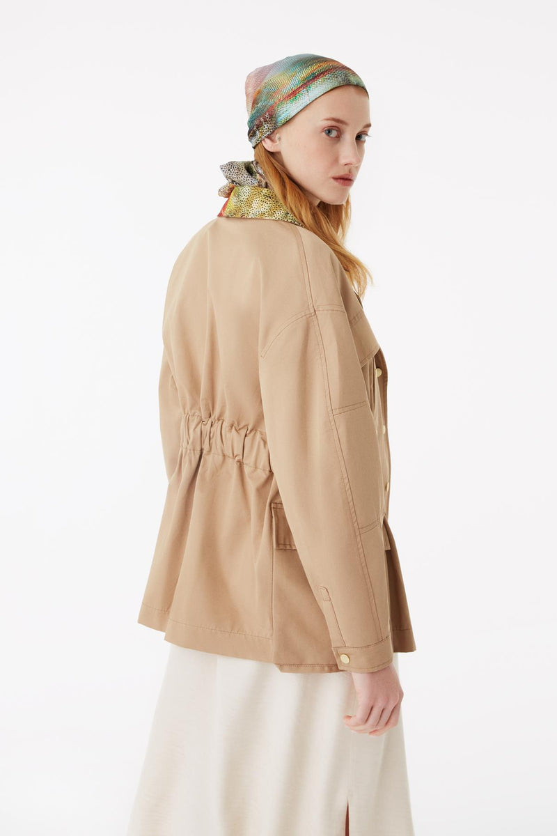 Exquise Jacket Classic Zipper Camel - Wardrobe Fashion