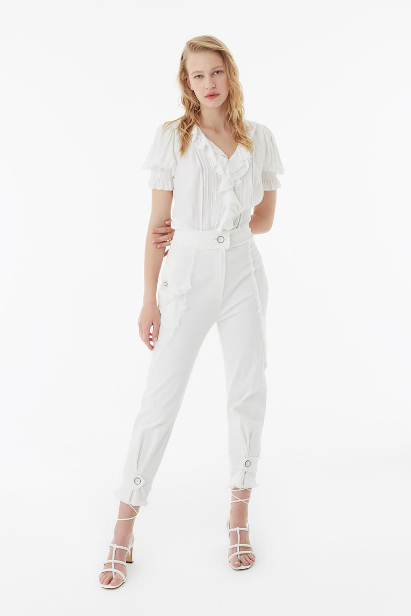 Exquise Blouse Pleat S/Sl Off White