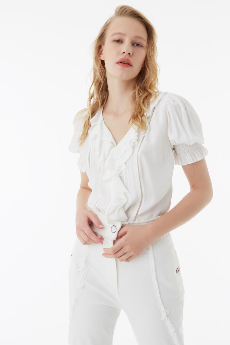 Exquise Blouse Pleat S/Sl Off White - Wardrobe Fashion