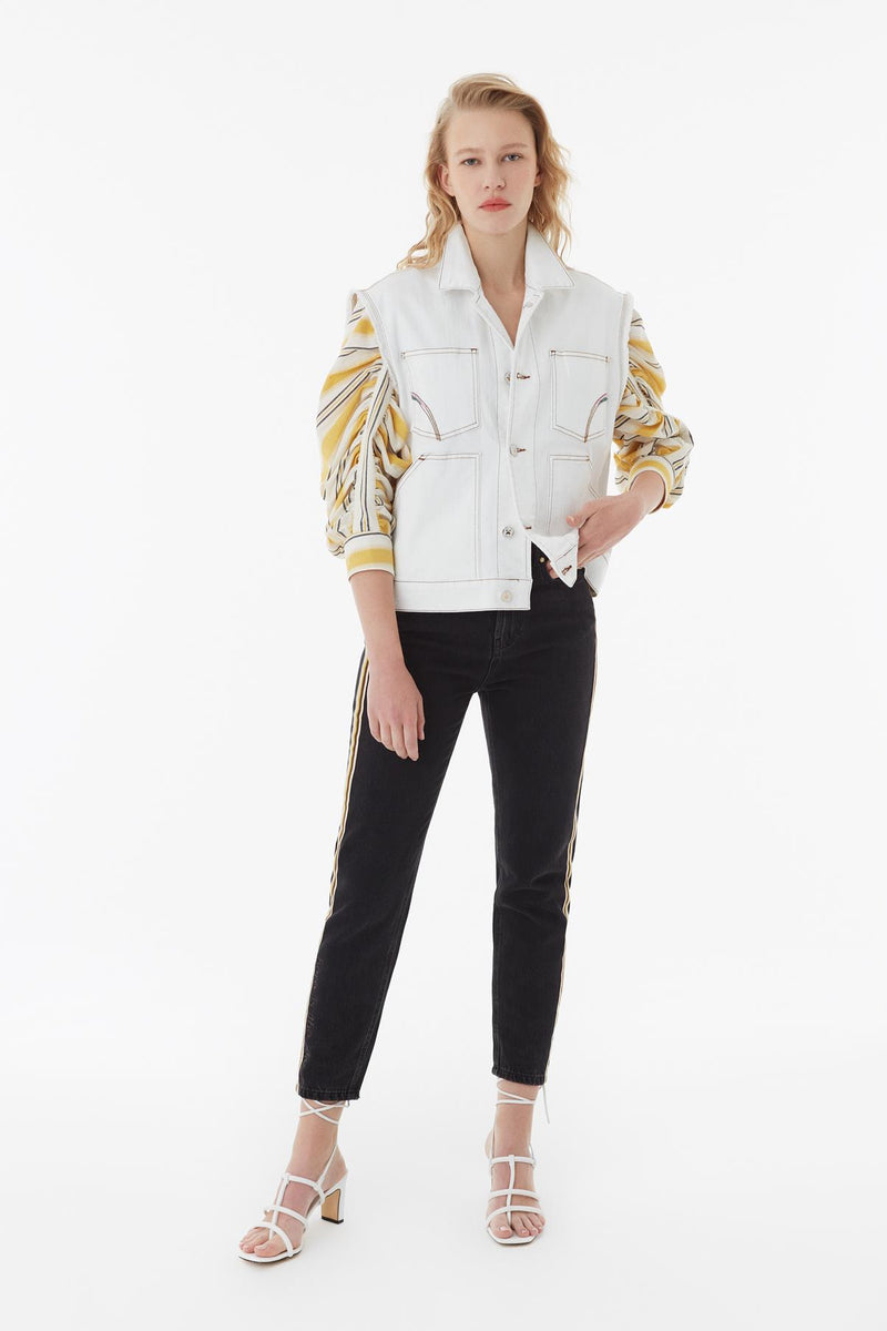 Exquise Blouse V-Stripe Wide Sleeve Yellow