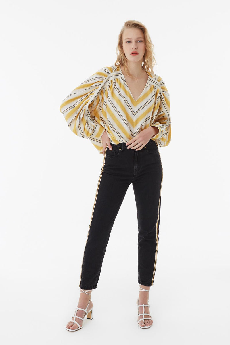 Exquise Blouse V-Stripe Wide Sleeve Yellow - Wardrobe Fashion