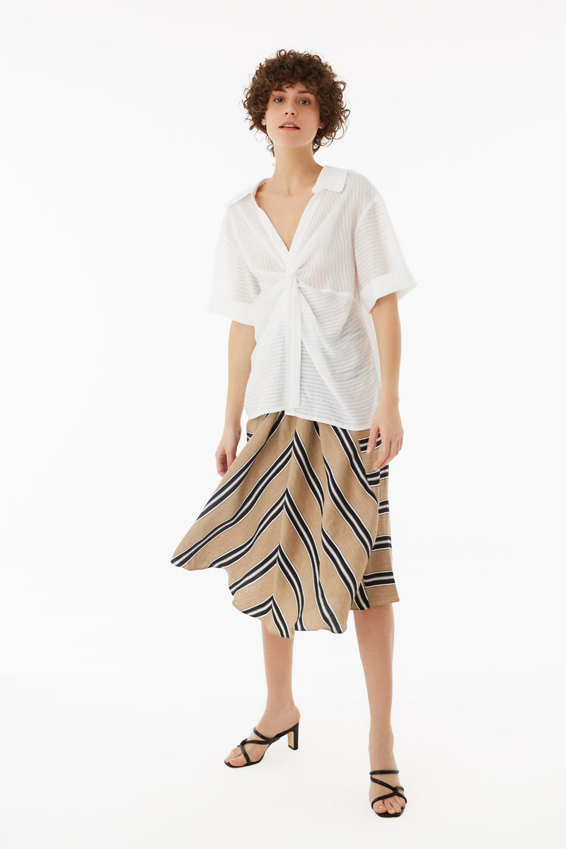 Exquise Blouse Stripe S/Sl Off White