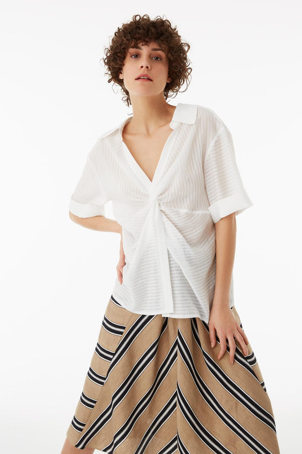 Exquise Blouse Stripe S/Sl Off White - Wardrobe Fashion