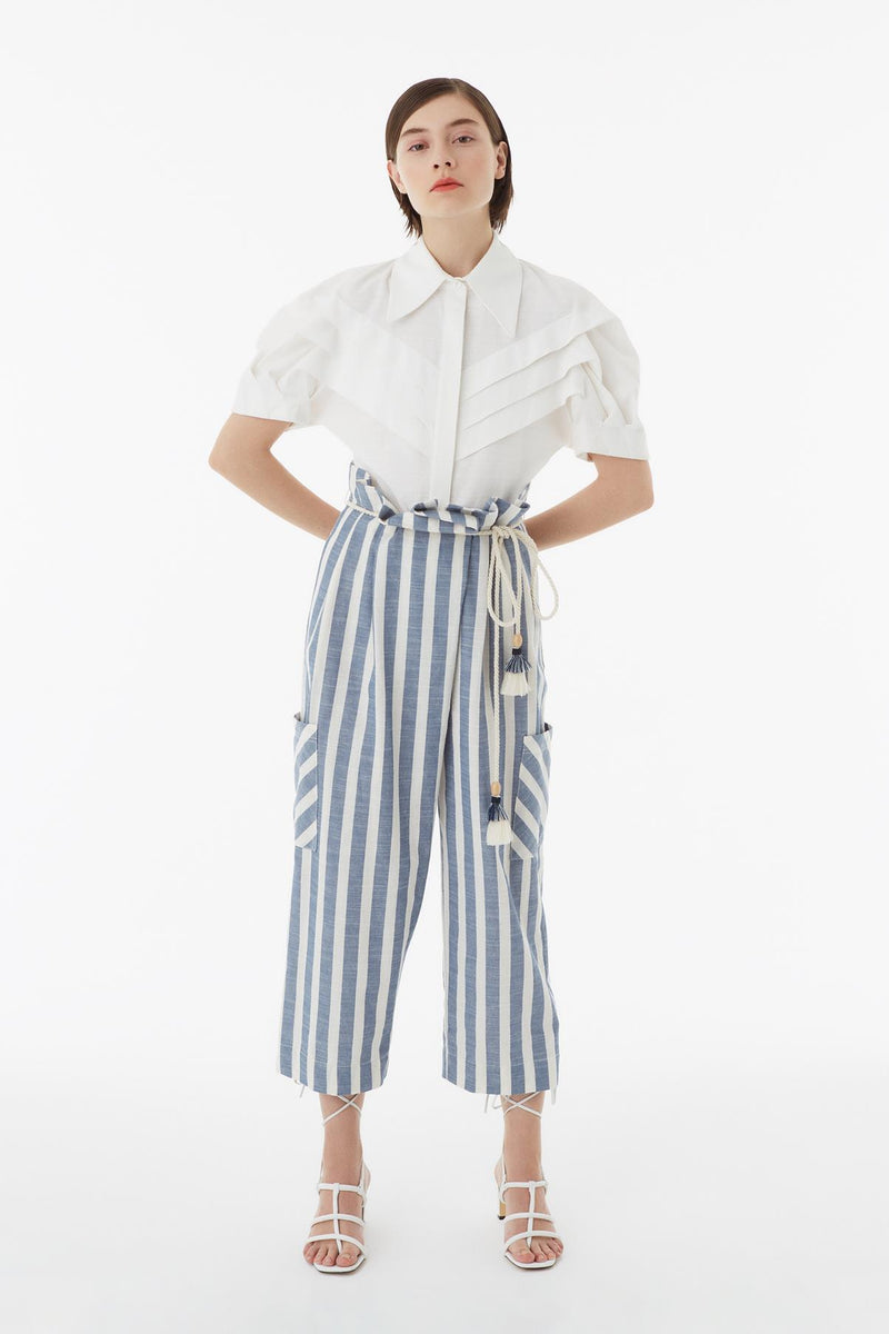 Exquise Shirt V-Neck Stripe S/Sl Off White - Wardrobe Fashion