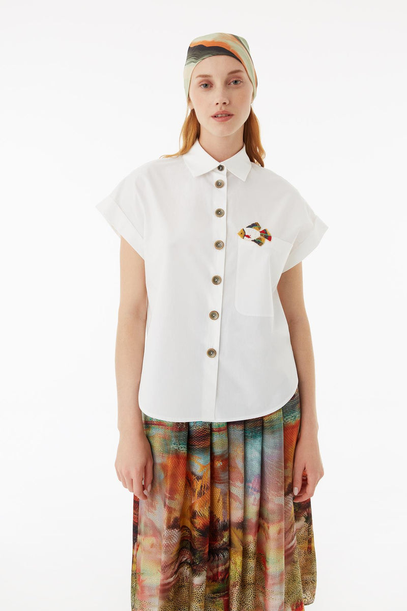Exquise Shirt Fluid Fish Print S/Sl White