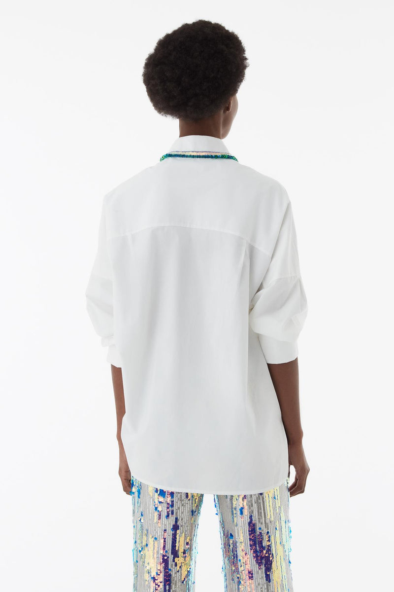 Exquise Shirt Jewel Neck L/Sl White - Wardrobe Fashion
