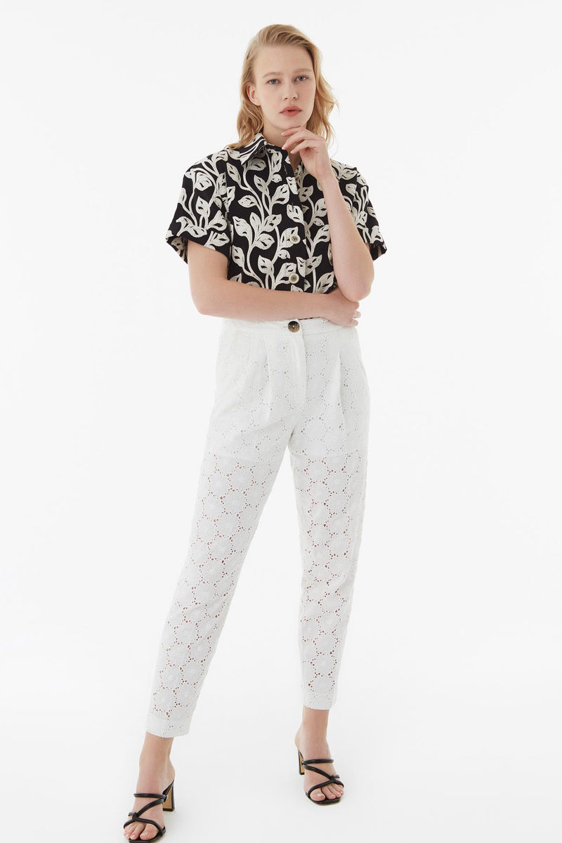 Exquise Trouser Embroied Off White