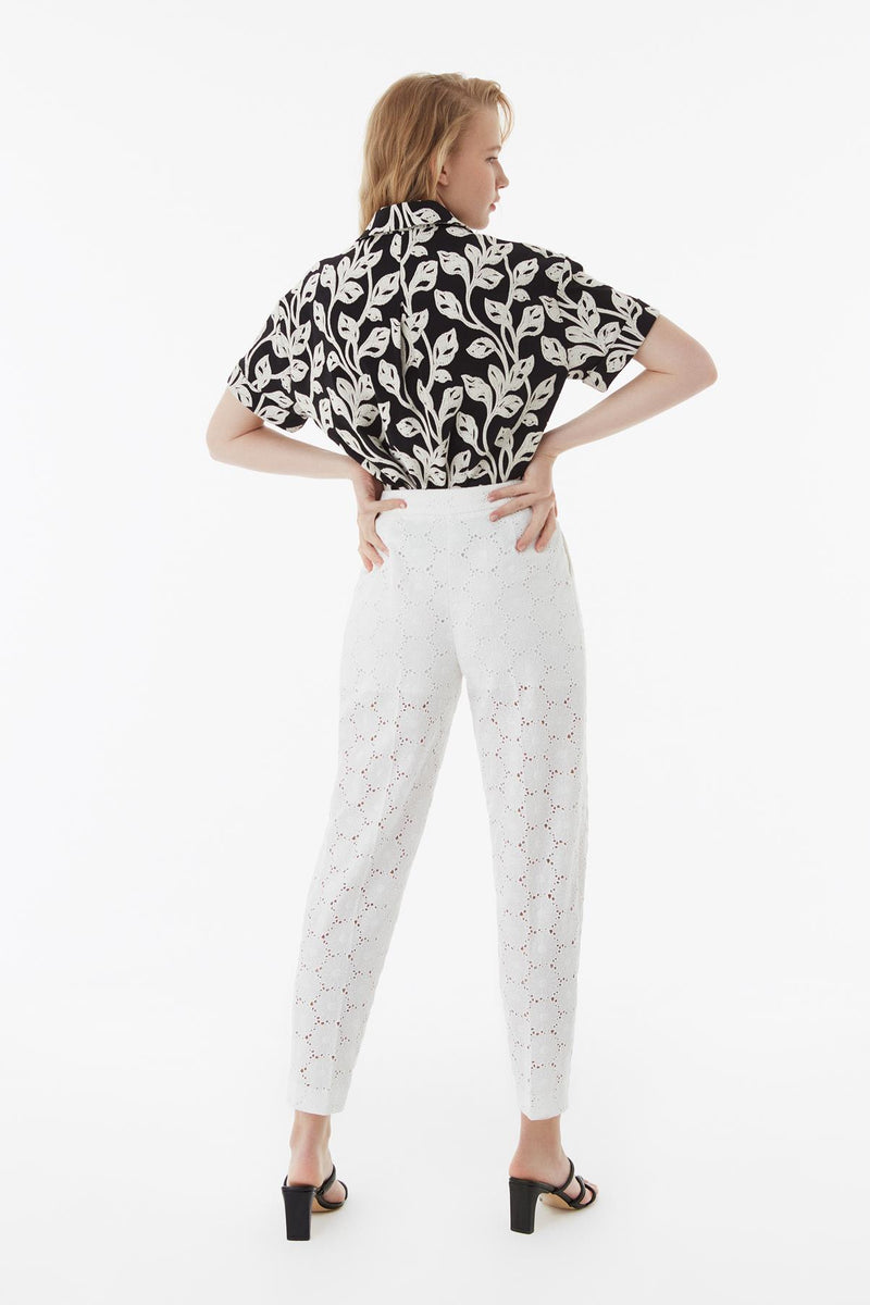 Exquise Trouser Embroied Off White - Wardrobe Fashion