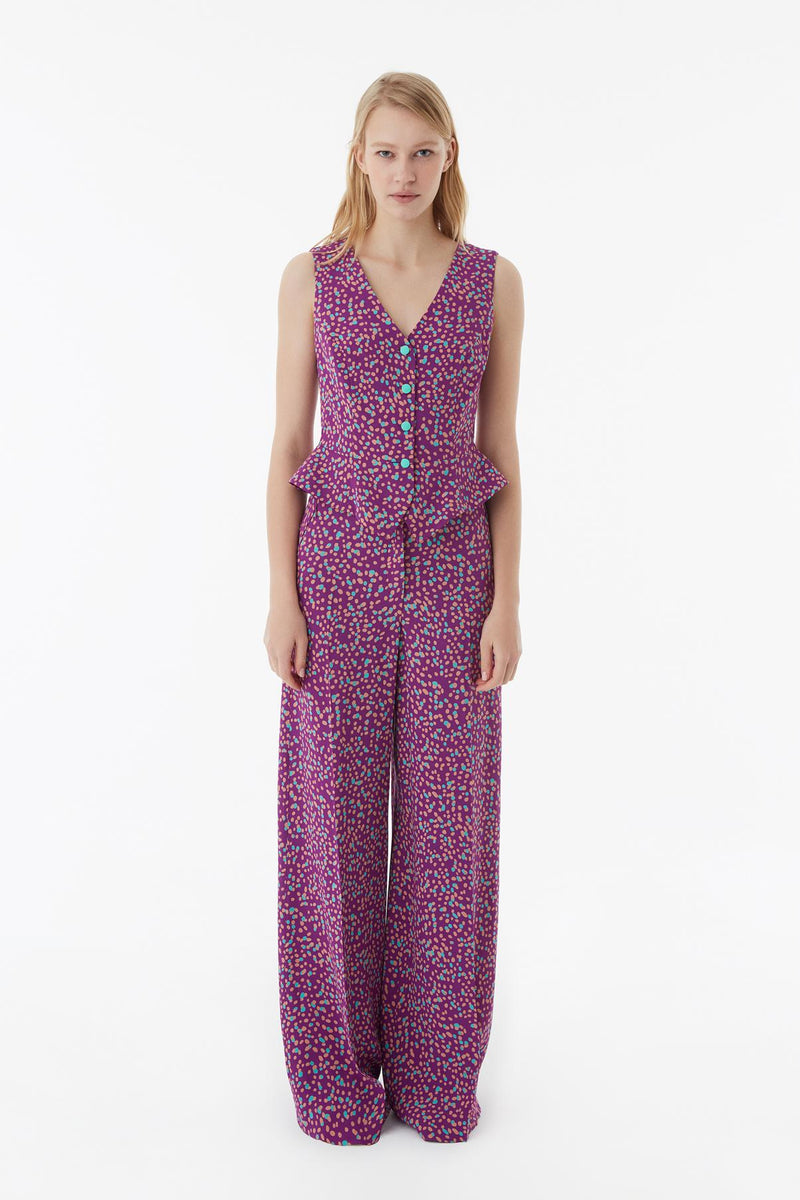 Exquise Trouser Paisley Print Purple - Wardrobe Fashion