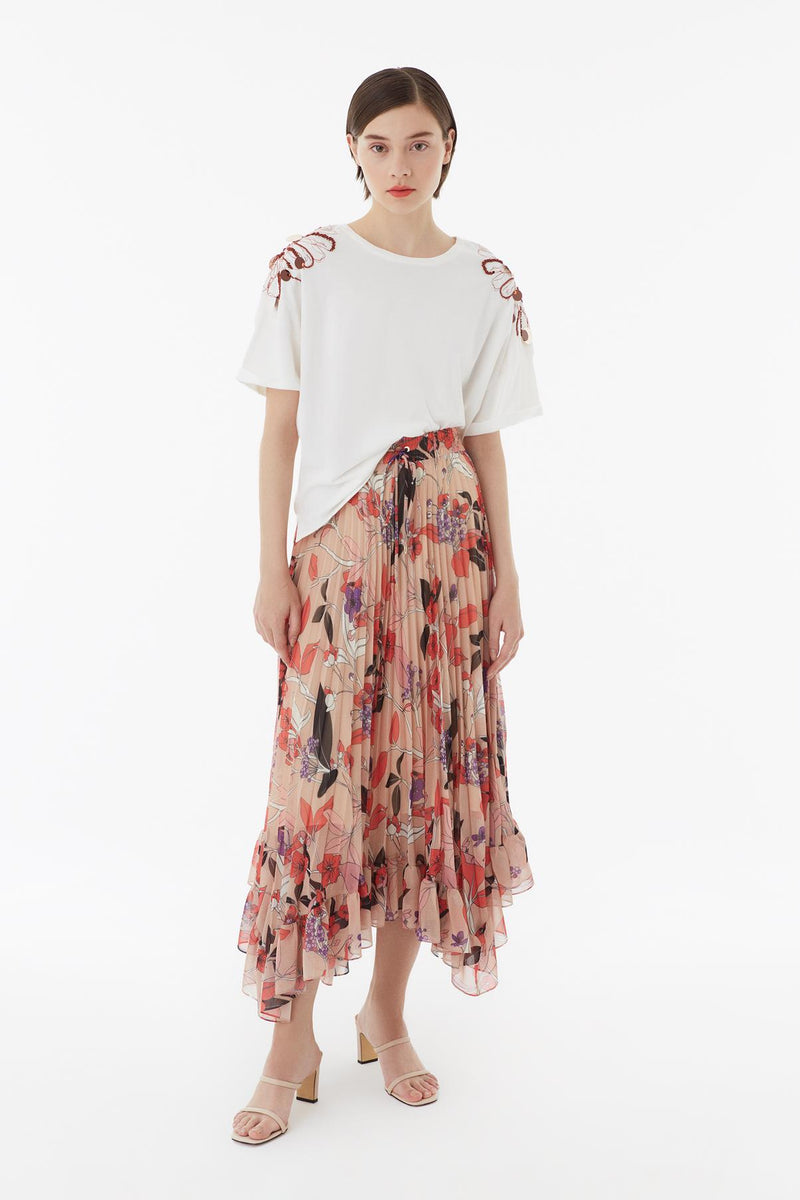 Exquise Skirt Pleat Print Print