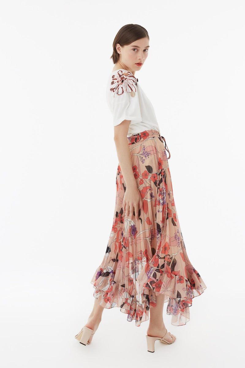 Exquise Skirt Pleat Print Print - Wardrobe Fashion