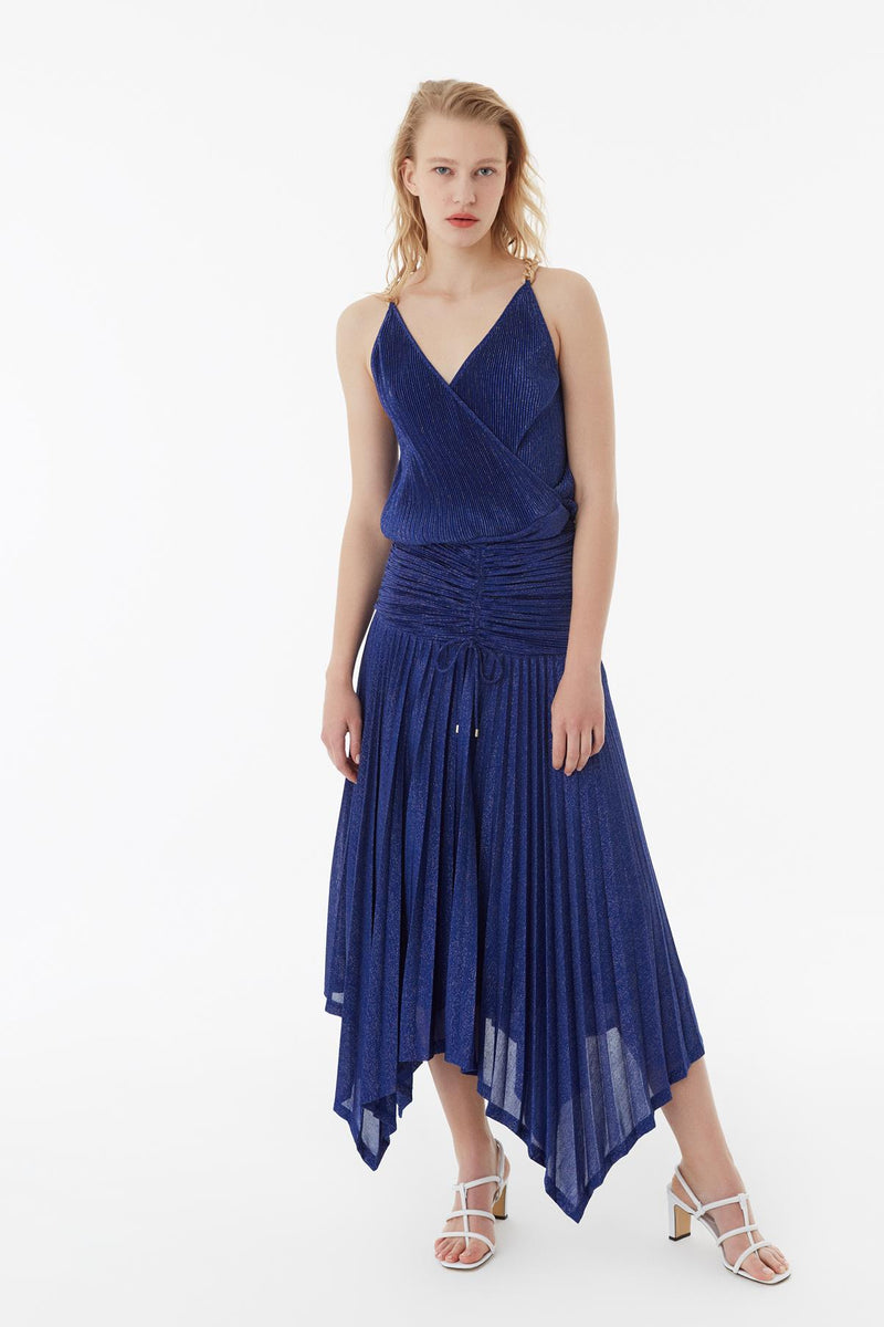 Exquise Skirt Pleat Flayered Blue
