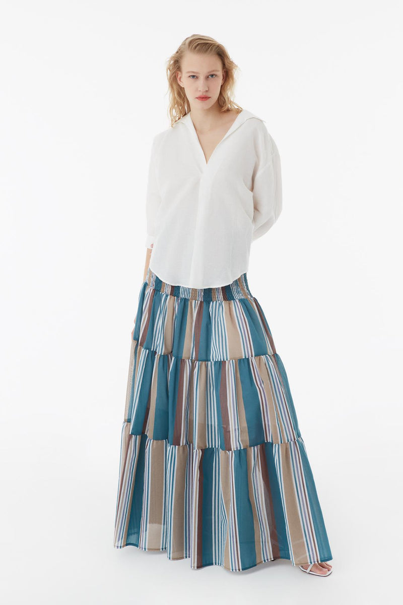 Exquise Skirt Pleat Stripe Print - Wardrobe Fashion