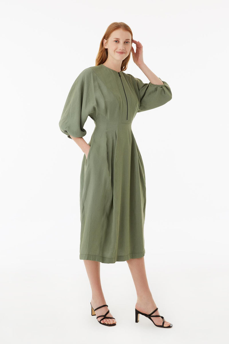 Exquise Dress Zipper L/Sl Khaki