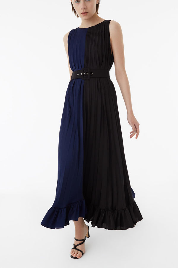Exquise Dress Color Clk Pleat Navy Blue - Wardrobe Fashion