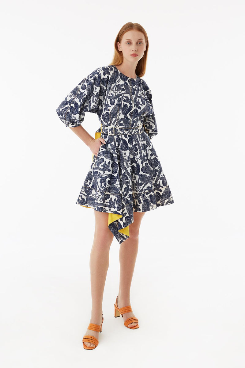 Exquise Dress Short Print 3/4 Sl Navy Blue
