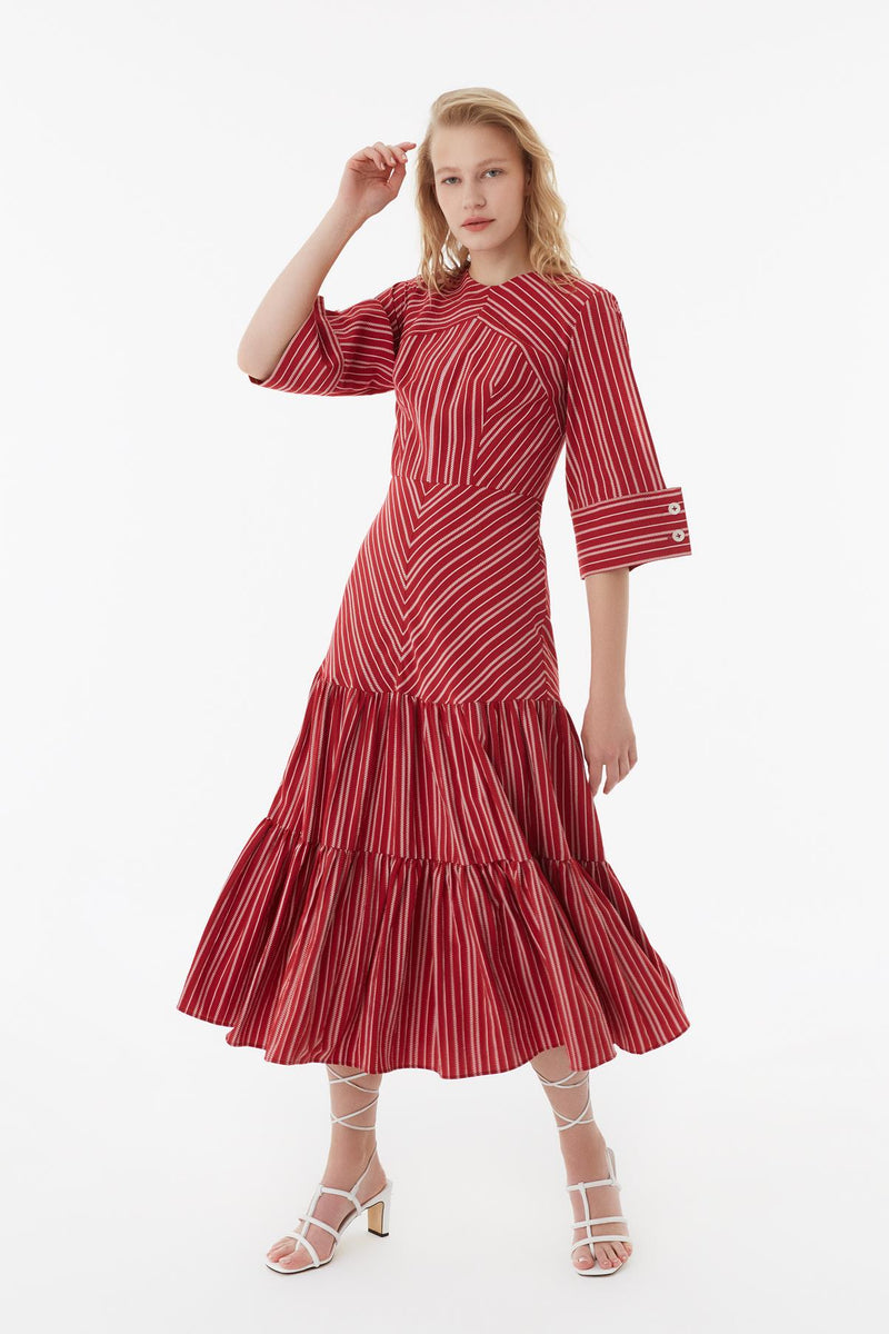 Exquise Dress Stripe L/Sl Red