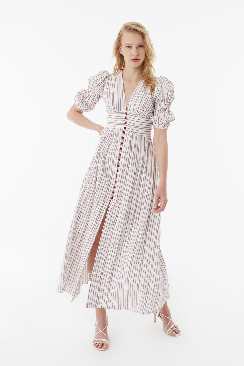 Exquise Dress Stripe V-Neck 3/ Off White - Wardrobe Fashion