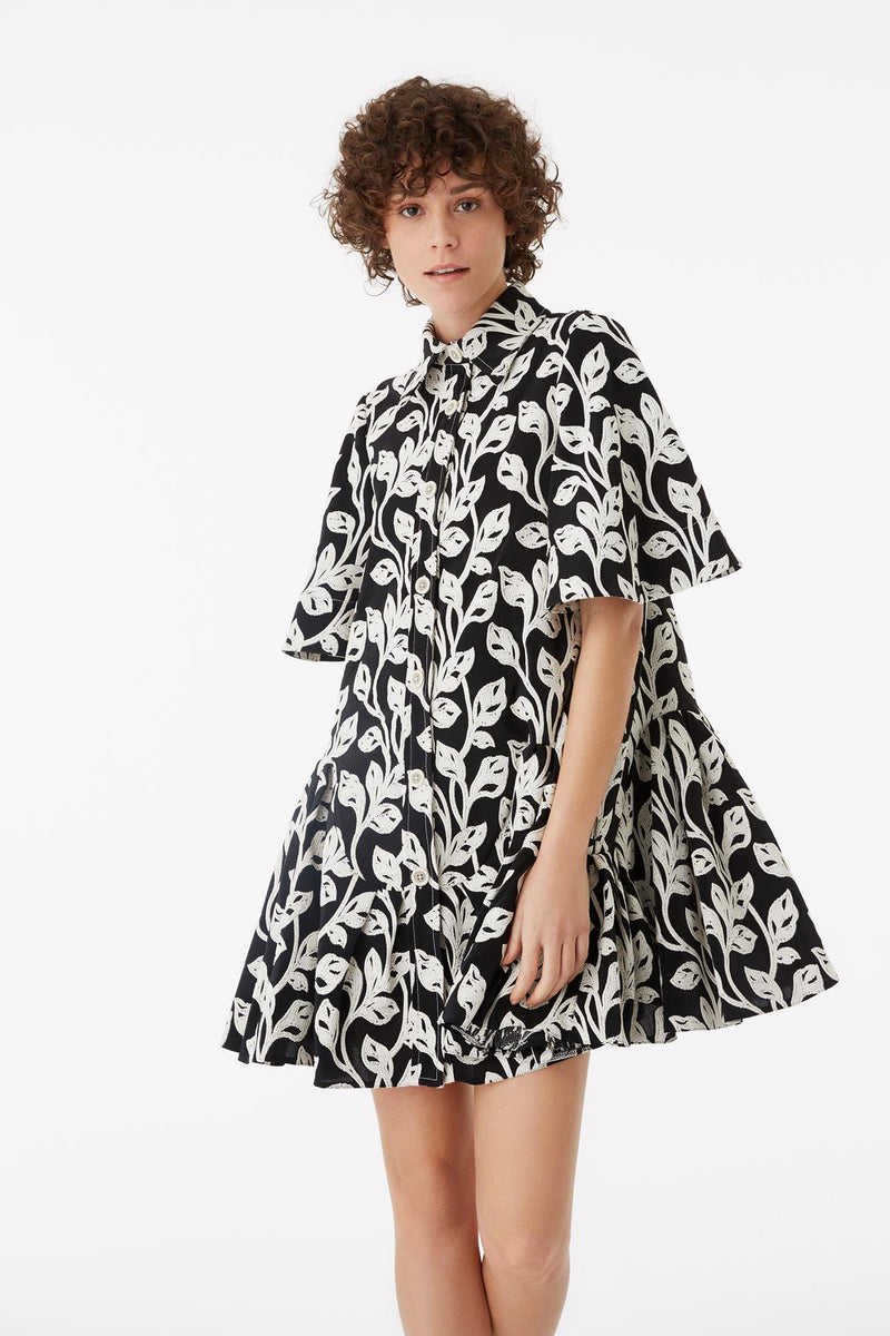 Exquise Dress Shirt Print S/Sl Black&White