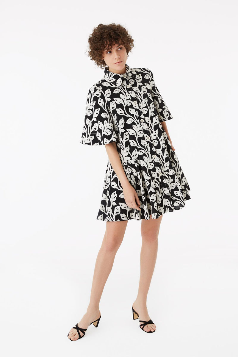 Exquise Dress Shirt Print S/Sl Black&White - Wardrobe Fashion