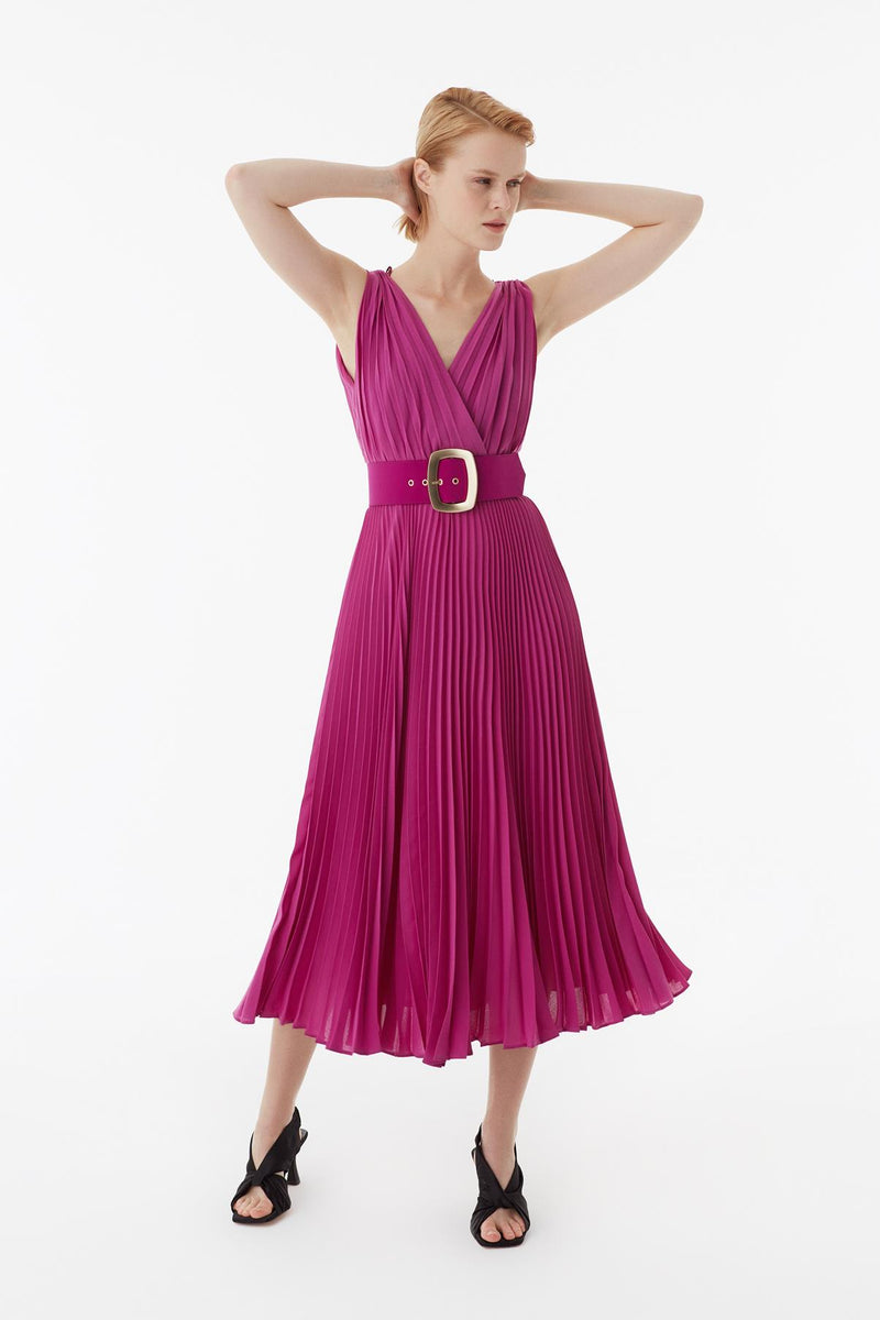 Exquise Dress Pleat N/Sl Fuchsia - Wardrobe Fashion