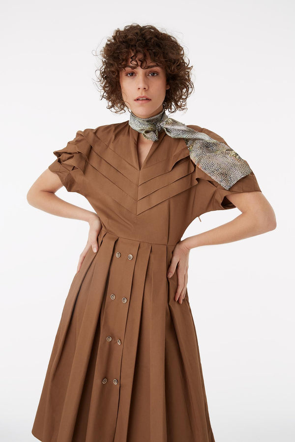 Exquise Dress Brown - Wardrobe Fashion