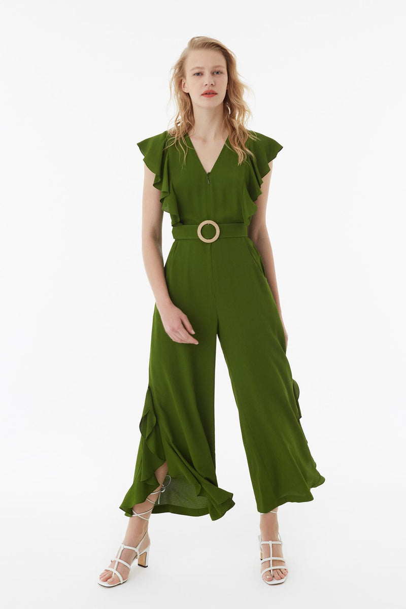 Exquise Jumpsuit Frill Edge S/Sl Green