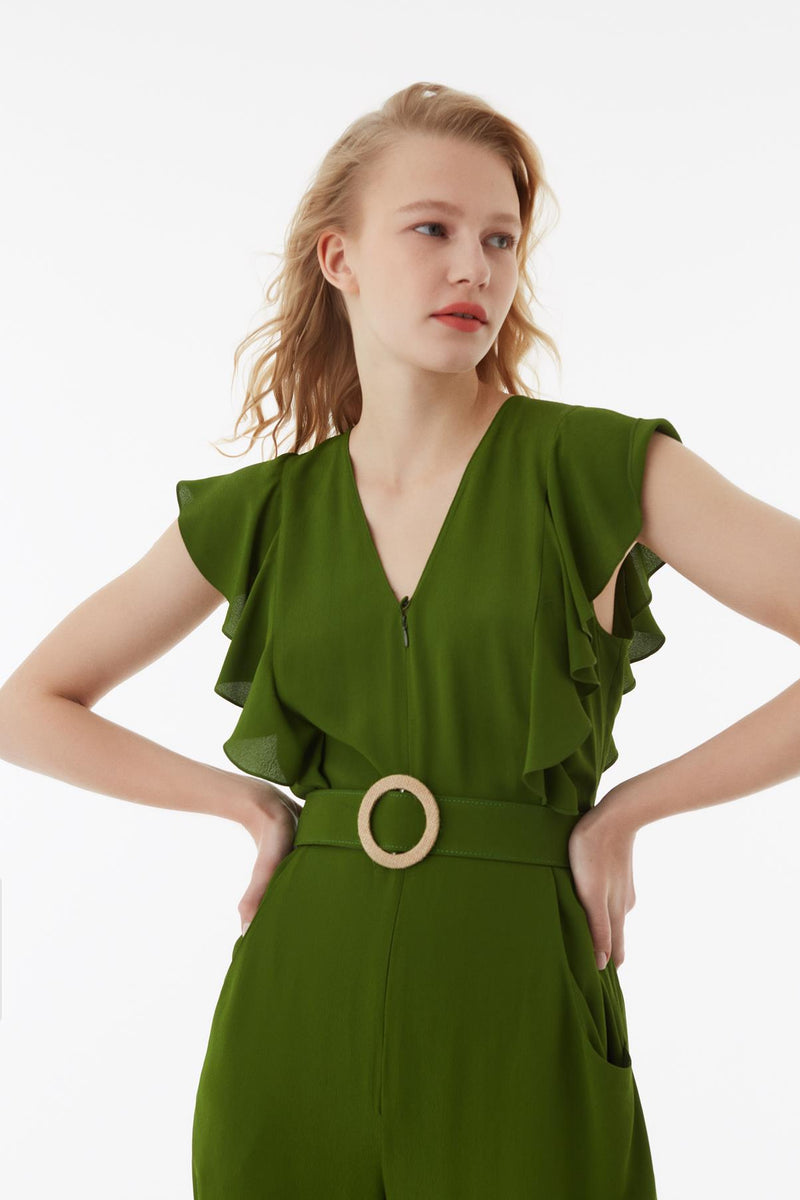 Exquise Jumpsuit Frill Edge S/Sl Green - Wardrobe Fashion