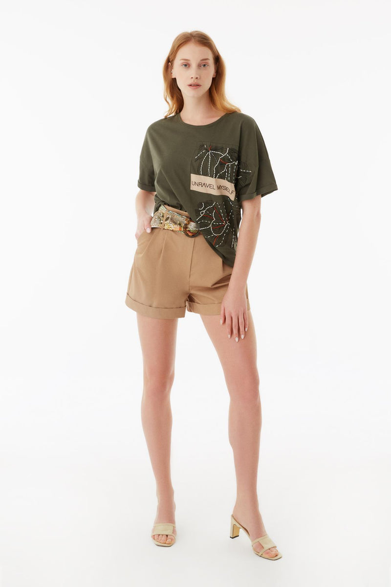 Exquise T-Shirt Embroied S/Sl Khaki - Wardrobe Fashion