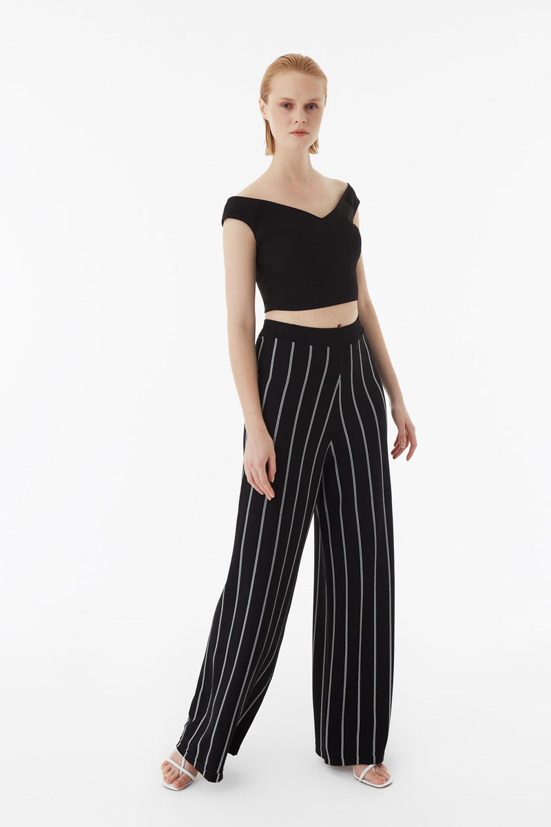 Exquise Trouser Stripe Black