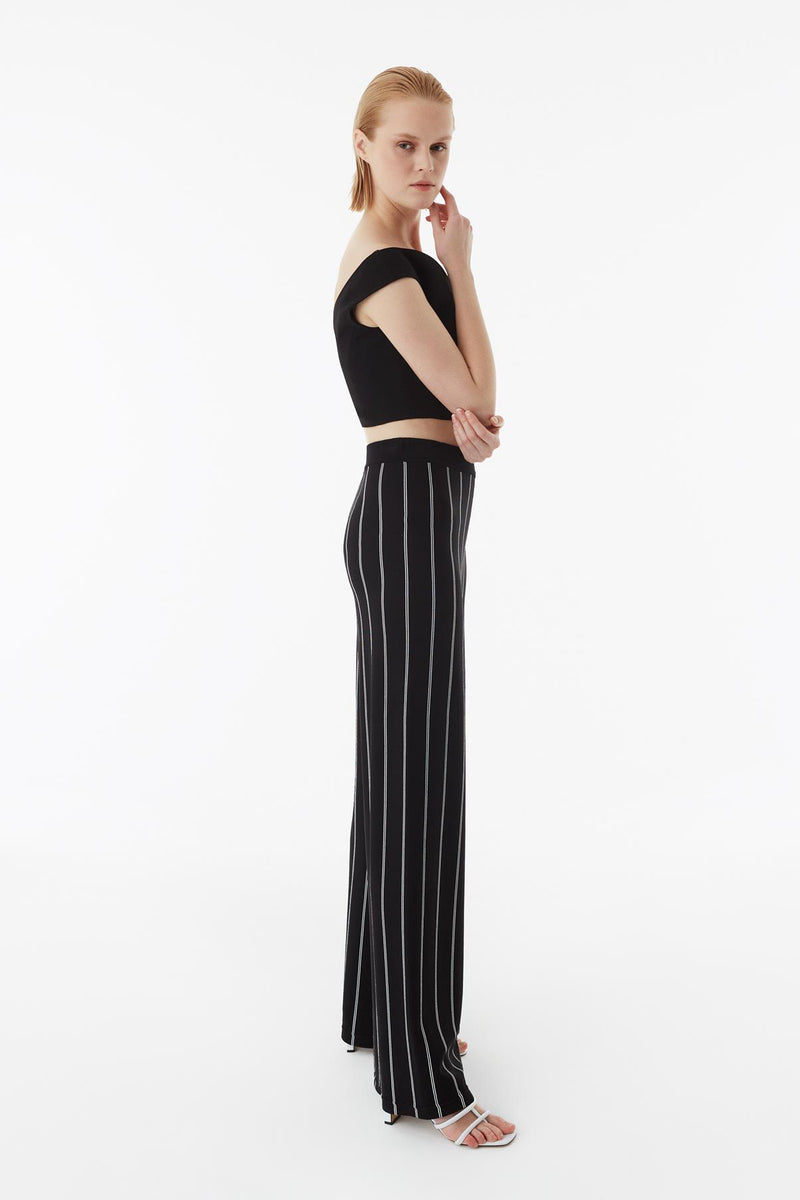 Exquise Trouser Stripe Black - Wardrobe Fashion