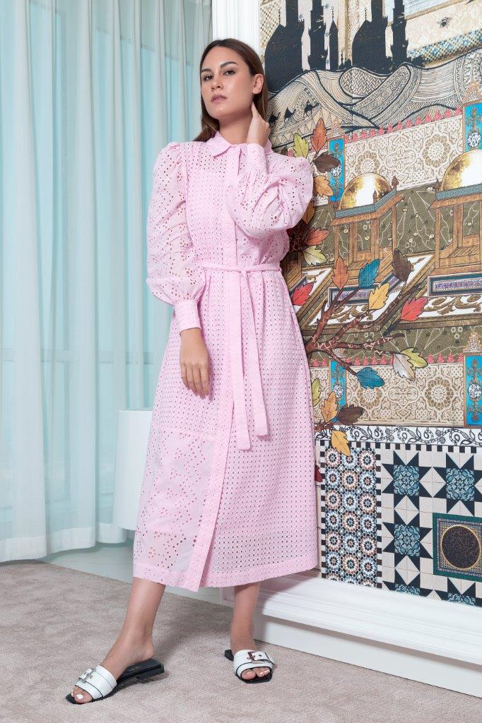 Choice Schiffli Shirt Dress Pink