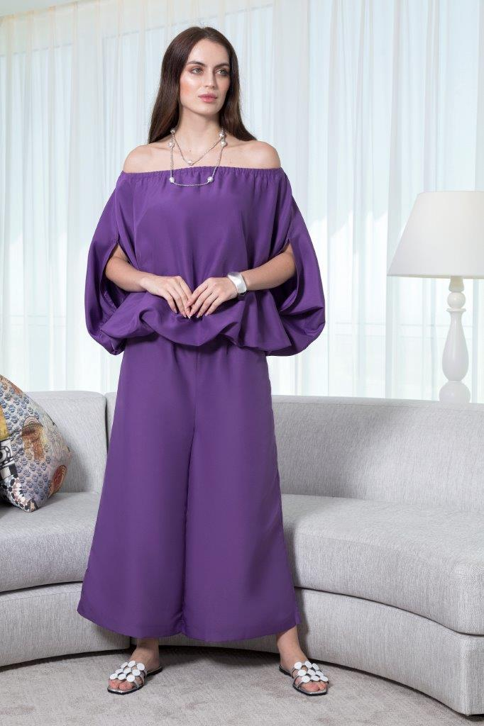 Choice Solid Wide Leg Taffetta Pants Purple