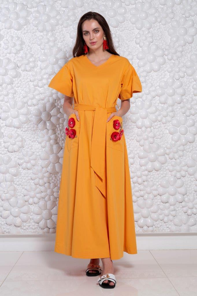 Choice Floral Accent Oversized Dress Orange