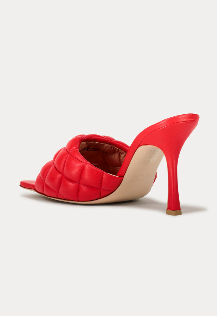Choice Squared Toe Quilted Mules Red - Wardrobe Fashion