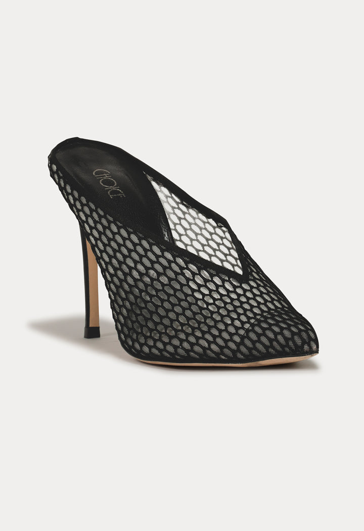 Choice Mesh Panel Mules Black - Wardrobe Fashion