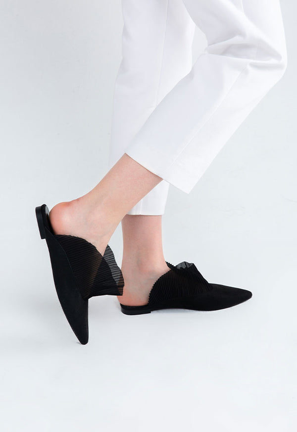 Choice Pleated Frill Tulle Mule Black