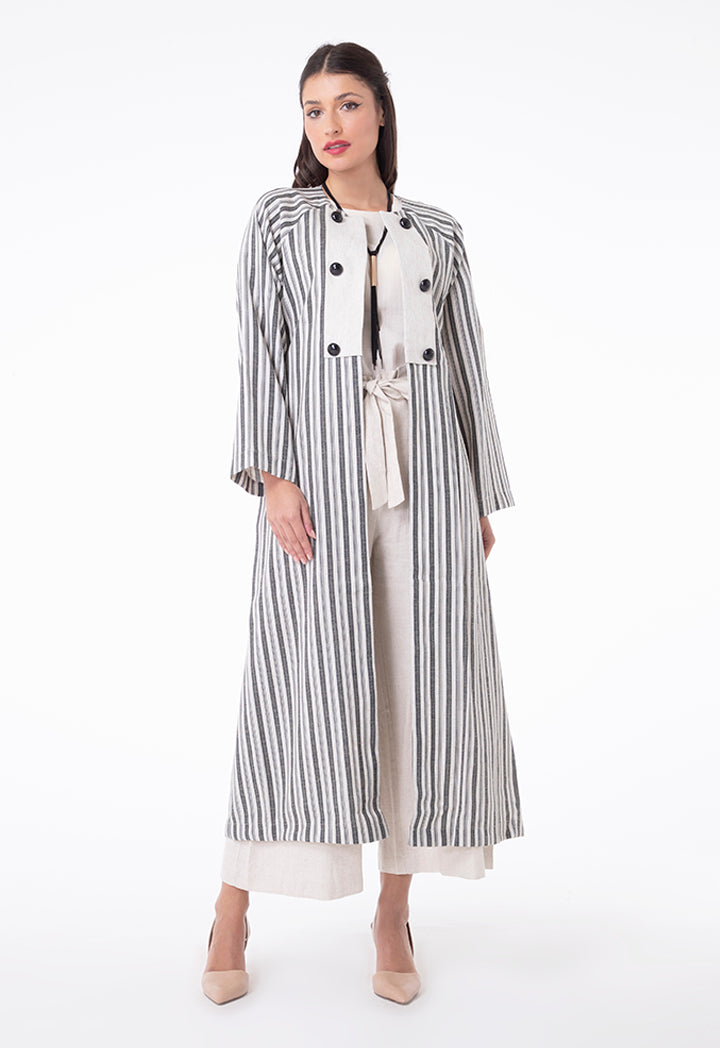 Choice Belted Long Stripes Kimono Cardigan Beige Stripes