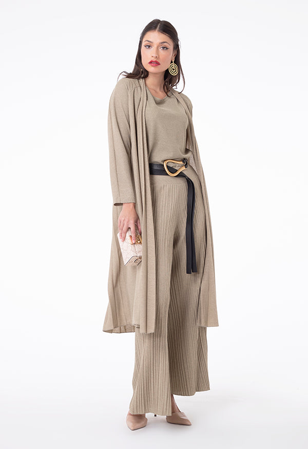 Choice Linen Jersey Square Pleated Pants Khaki