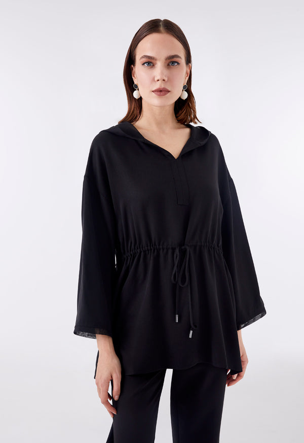 Choice Hooded Drawstring Waist Blouse Black - Wardrobe Fashion