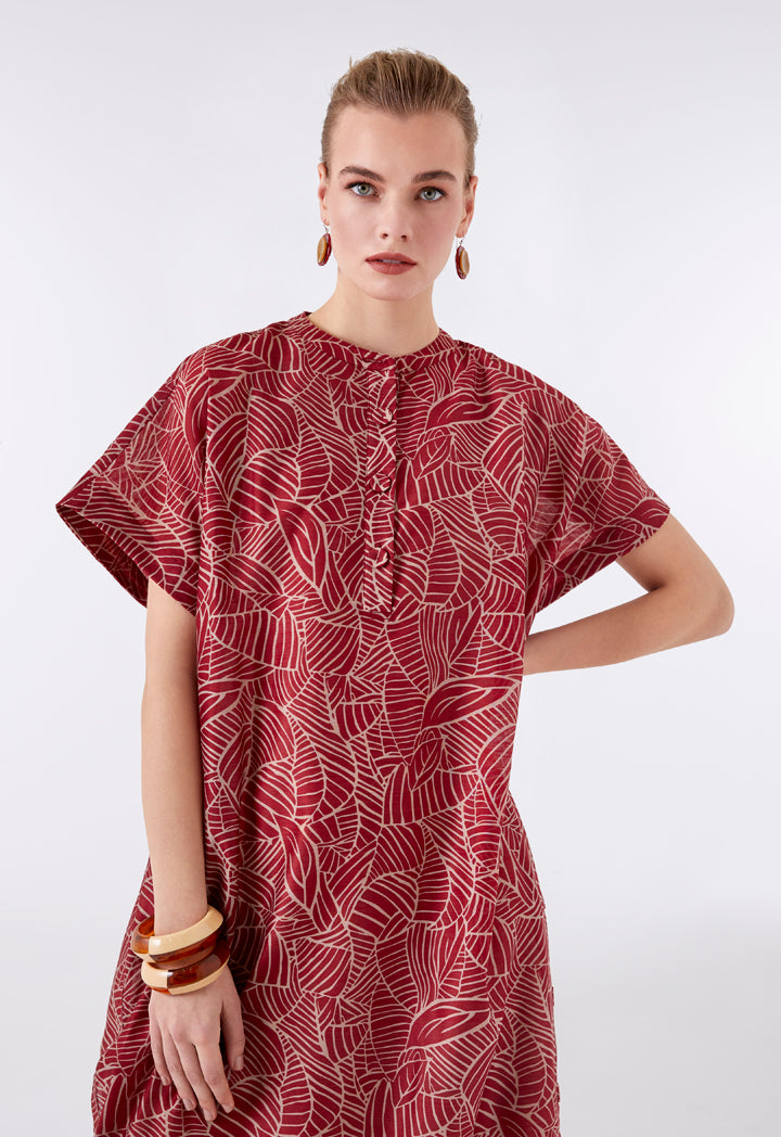 Choice Printed Maxi Kaftan Dress Burgundy - Wardrobe Fashion