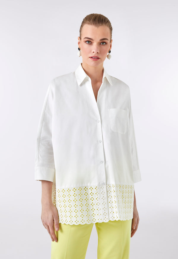 Choice Schiffli Lace Hem Shirt Off White - Wardrobe Fashion
