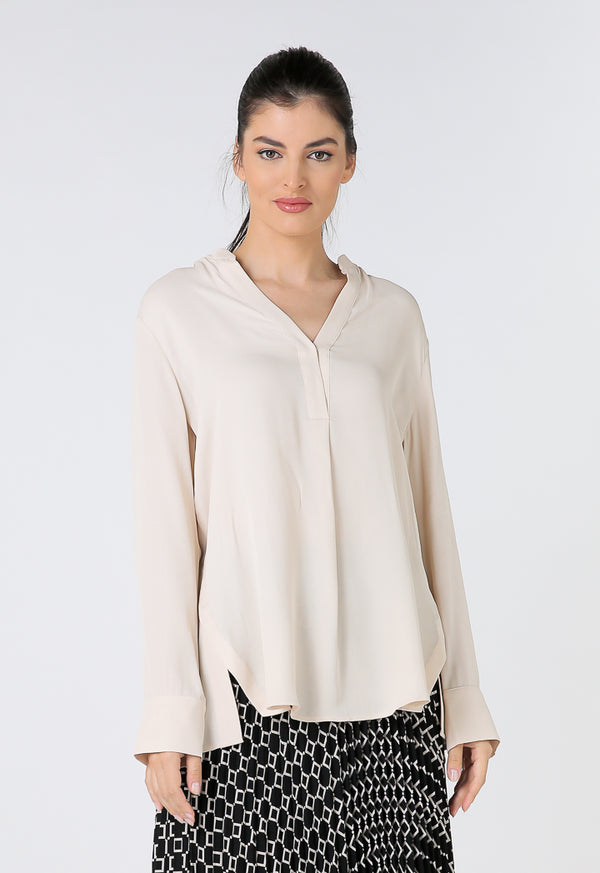 Choice Overlapping V-Neck Long Sleeves Shirt Light Beige