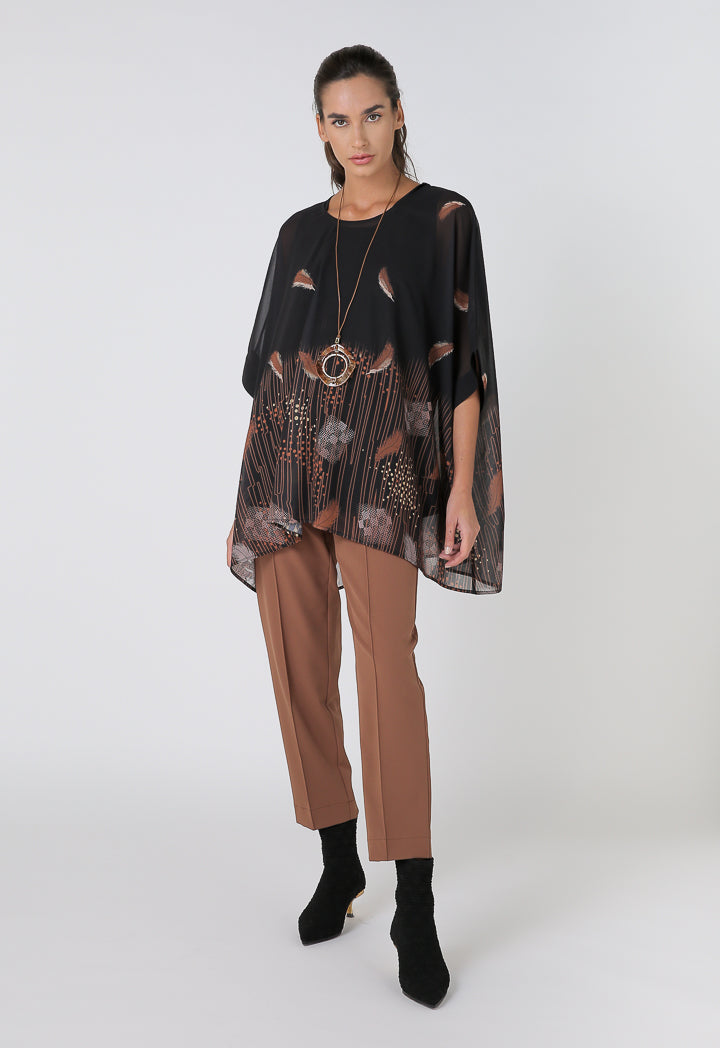 Choice Printed Wide Blouse With Plain Inner Black