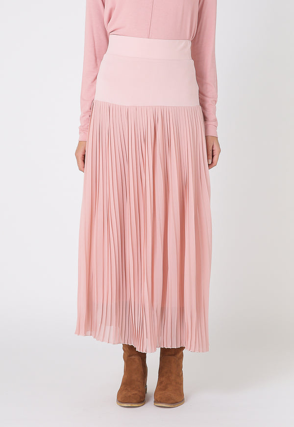 Choice Basics Elasticated Accordion Pleat Skirt Blush