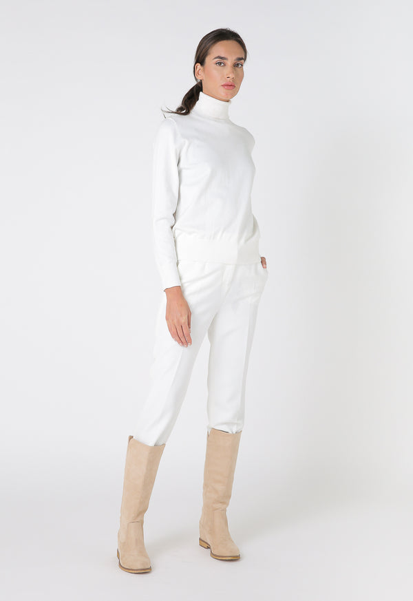 Choice Basics High Neck Single Color Knitwear Off White