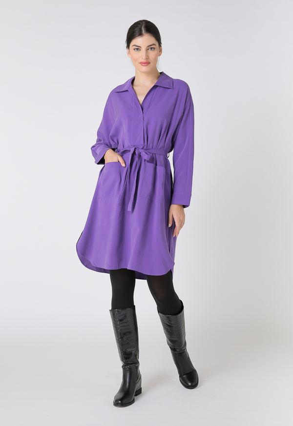 Choice Basics Long Sleeve Mini Dress Purple