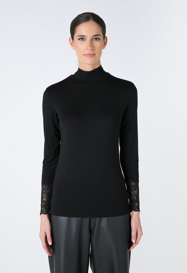Choice Basics Solid Knitted Top  Black