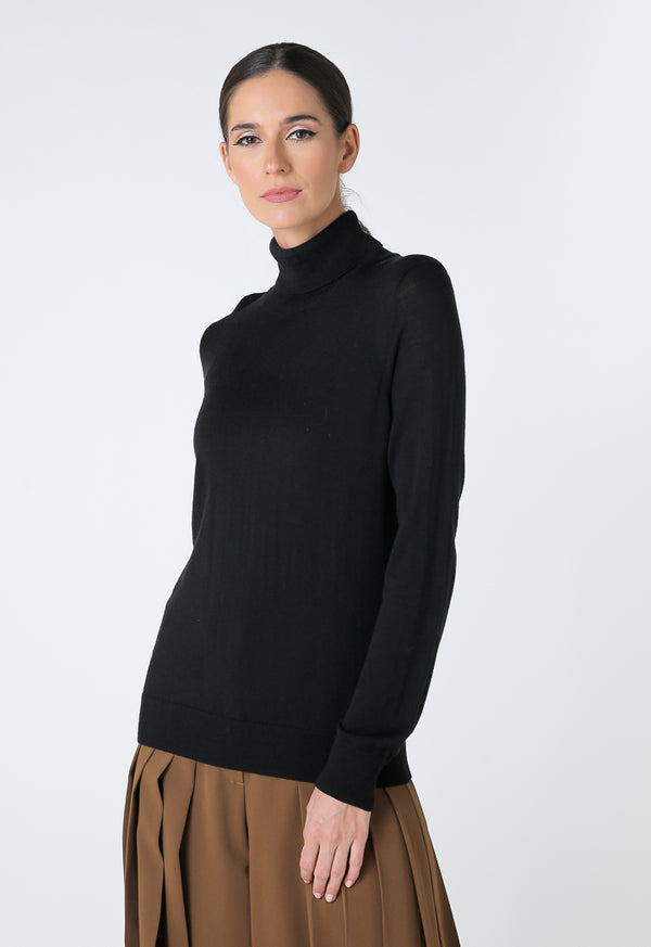 Choice Basics High Neck Single Color Knitwear Black
