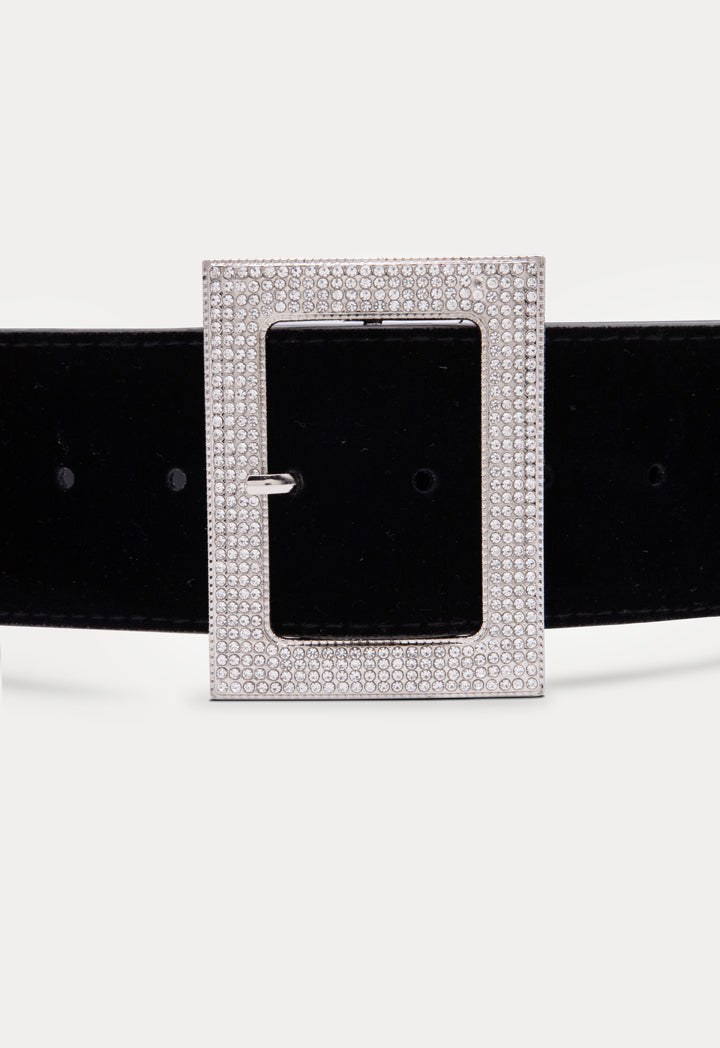 Choice Wide Rhinestone Buckle Belt Black - Wardrobe Fashion